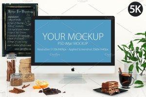 饮食餐厅工作场景iMac样机模板 iMac mockup – (cooking)插图1