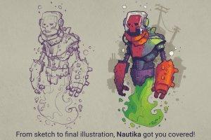 手绘插画概念艺术家Procreate笔刷[水墨/马克笔/水彩] Nautika – Brush Pack for Procreate插图(8)