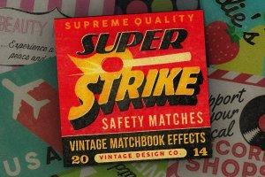 复古怀旧风格火柴盒外观设计图层样式 Super Strike – Matchbook Effects插图1
