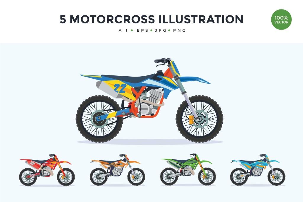 5个极限运动摩托车矢量图形插画素材 5 Extreme Motorcross Bike Vector Illustration Set插图
