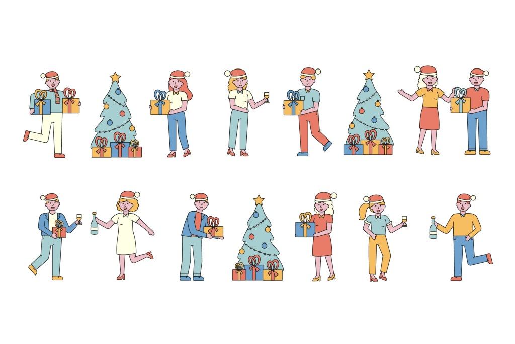 庆祝新年人物形象线条艺术矢量插画素材 New Year Lineart People Character Collection插图