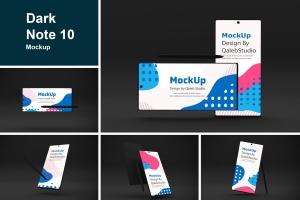Note 10大屏手机屏幕预览样机模板 Dark Note 10 Mockup插图1