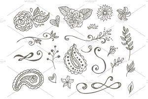花朵叶子和花环简笔装饰素材 Spring Doodles插图2