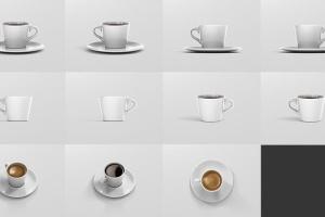 高品质的咖啡马克杯样机展示模板 Coffee Cup Mockup – Cone Shape插图16