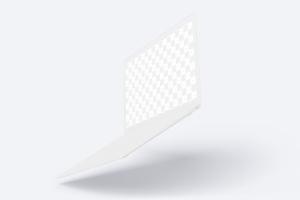 悬浮状态MacBook笔记本电脑屏幕界面设计预览样机 Clay MacBook Mockup, Floating插图1