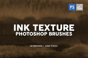 30款墨水印刷纹理肌理PS笔刷v3 30 Ink Texture Photoshop Brushes Vol. 3插图1