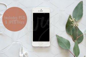 现代简约风 iPhone 样机模板 Styled Stock Photo   Phone Mockup插图1