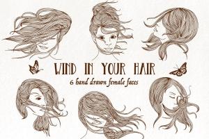 6个长发飘飘女子脸蛋头像矢量手绘图案素材 Wind in Your Hair – Hand drawn Girls' Faces插图1