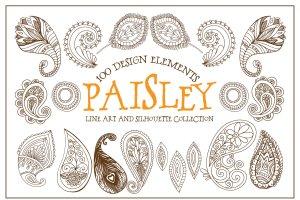 波西米亚风格艺术线条插图素材 Boho Paisley Line Art Illustrations插图4