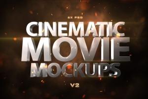 电影3D动画特效标题文字特效PS字体样式v2 Cinematic 3D Movie Mockups V2插图1