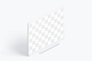 iPad Pro平板电脑黏土陶瓷材质等距右视图样机03 Clay iPad Pro 12.9 Mockup, Isometric Right View 03插图2