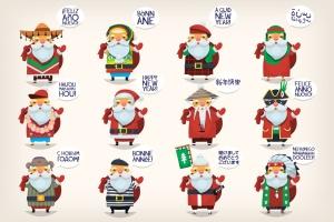 世界各地圣诞老人卡通形象设计矢量素材 Santas of the world插图1