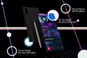 酷黑背景三星智能手机Note 10多角度屏幕预览样机模板 Neon Note 10 MockUp插图2