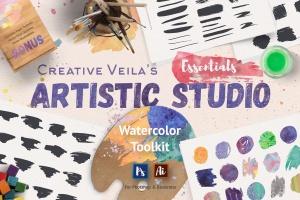 超级水彩绘画设计师工具包[ps水彩笔刷/样式/纹理] Artistic Studio: Watercolor Toolkit插图1
