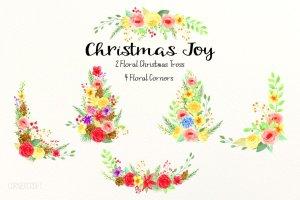 圣诞主题水彩插花套装 Christmas Floral Arrangement插图1