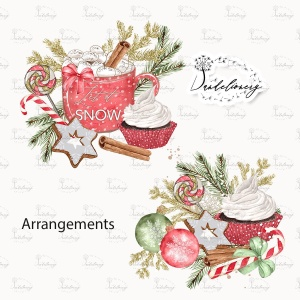 甜蜜圣诞节水彩手绘图案PNG素材 Sweet Christmas design插图3