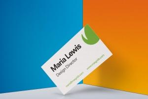 企业名片设计侧立效果图样机模板v2 Business Card Mockup 02插图1