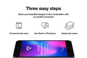 APP UI设计展示iPhone 8样机模板 HERO Phone 8 Mockups插图5