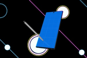 酷黑背景三星智能手机Note 10多角度屏幕预览样机模板 Neon Note 10 MockUp插图11