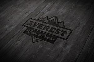 户外运动品牌Logo商标木刻效果图样机模板 Wood Engraved Mockup插图2