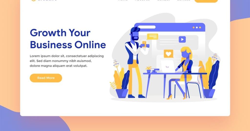 网站着陆页设计在线业务矢量插画素材 Online Business Web Landing Page Illustration插图