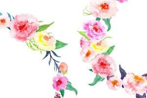 精美水彩牡丹花环插画 Watercolor Peony Wreath插图3