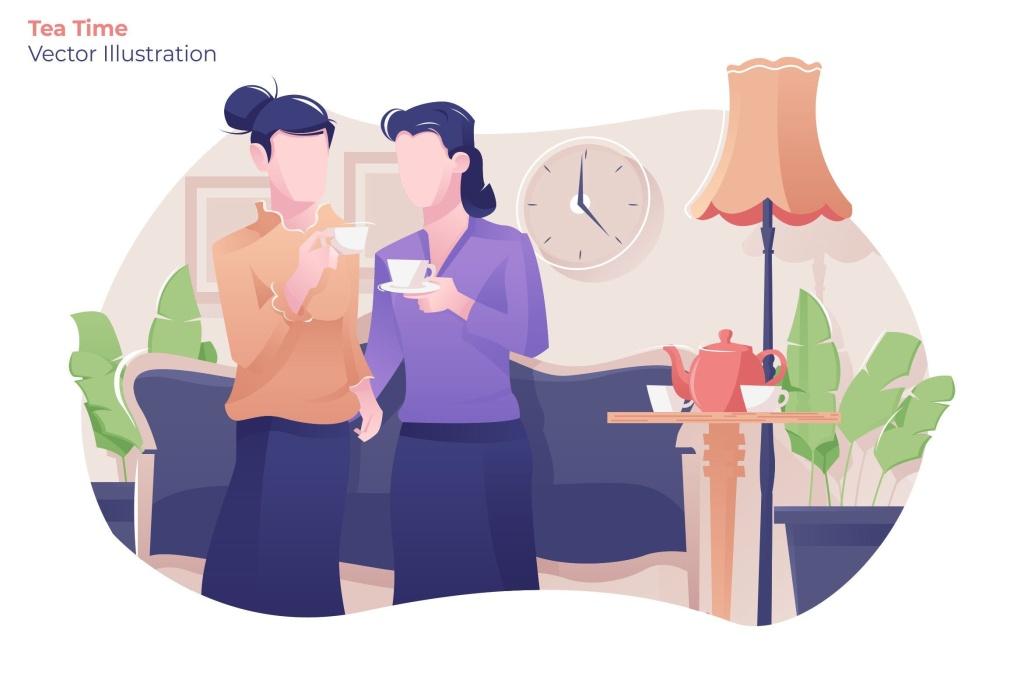 品茶时光茶文化主题矢量插画设计素材 Tea Time – Vector Illustration插图