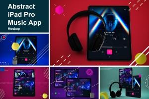 抽象设计风格iPad Pro平板电脑APP设计屏幕预览样机 Abstract iPad Pro Music App插图1