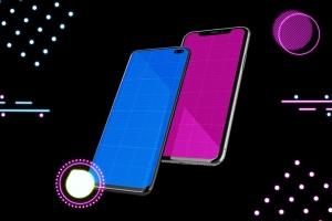 高质量霓虹灯风格iOS/Android手机样机模板 Neon IOS & Android插图14