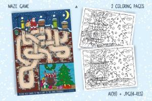 儿童风格圣诞主题矢量手绘设计素材 Christmas Games for Children插图3