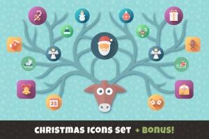 扁平设计风格圣诞节主题矢量素材包 Christmas Flat Set | Vector Icons Bundle插图1