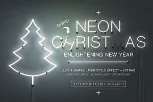 圣诞主题风格霓虹灯图层样式 Neon Christmas Layer Style插图1