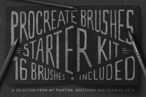 素描/水彩/油画Procreate专用笔刷 Procreate Brushes Starter Kit插图(1)