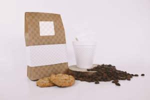咖啡豆包装麻袋&咖啡纸杯品牌VI设计样机模板 Coffee Bag and Cup Mockup With Cookies插图2