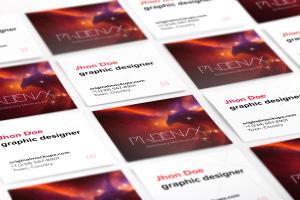 方形企业&工作室名片设计效果图等距网格样机02 Square Business Cards Mockup 02插图1