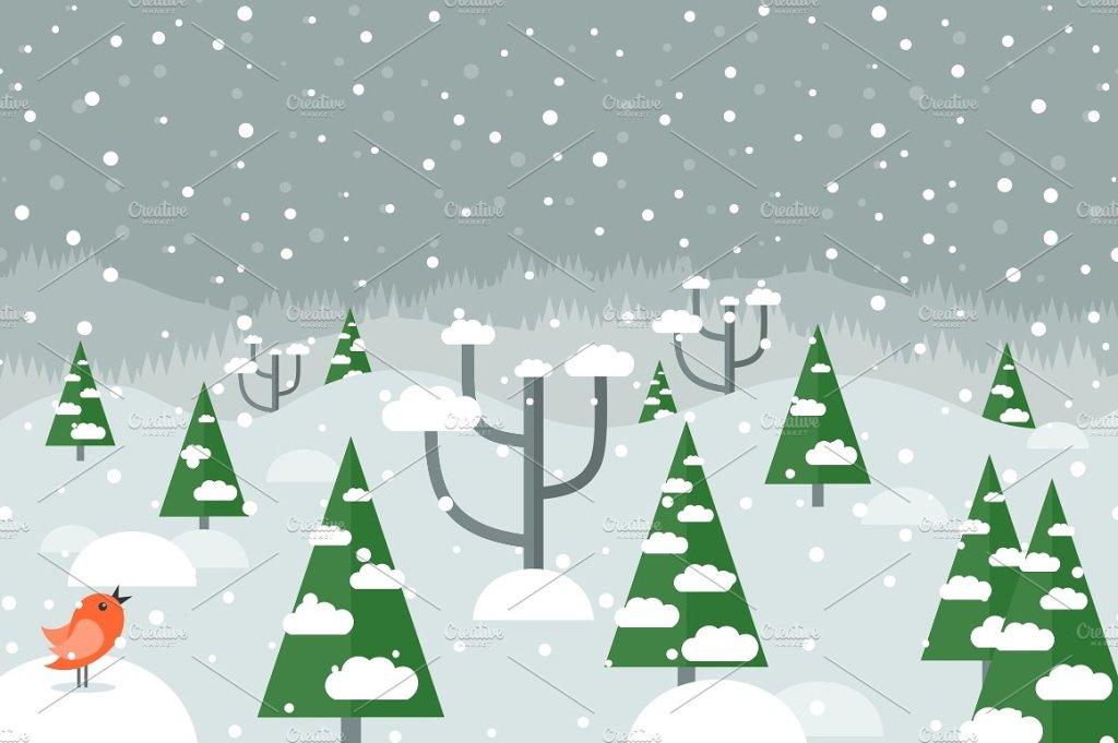 手绘圣诞树/下雪/下雪的树林圣诞元素矢量图插图
