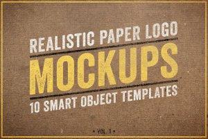 纸张印刷效果 Logo 展示样机 Paper Logo Mockups Volume 1插图1