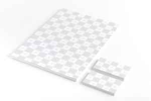 A4信纸信头&名片设计印刷效果图样机01 A4 and Business Cards Mockup 01插图2