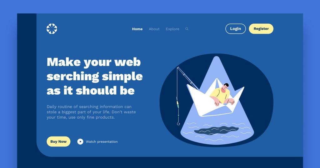 网站着陆页设计船钓矢量插画素材 Boat Landing Page Illustrations插图