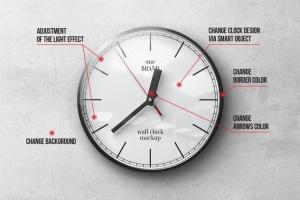 逼真圆形传统指针挂钟样机 Wall Clock Mockup插图2