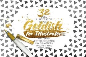 金漆纹理、AI笔刷&图层样式合集 Goldish Kit. For Illustrator+Extras插图1