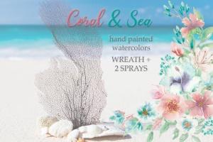 """""""珊瑚与海"""":水彩花圈和花束水彩手绘剪贴画PNG素材 """"Coral and Sea"""": Watercolor Wreath and Bouquets插图1"""