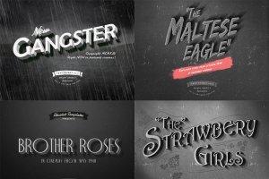 6款老电影标题文本图层样式 6 Old Movie Titles插图3