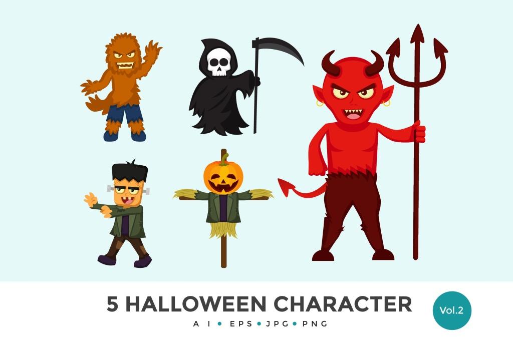 5个万圣节可爱怪物卡通人物矢量图形素材v2 5 Cute Halloween Monster Vector Character Set 2插图