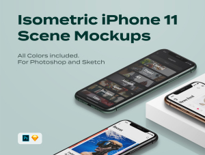 一流设计素材网下午茶:等距iPhone 11 pro场景展示样机插图1