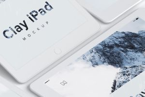 5K高清分辨率iPad平板电脑多屏幕预览效果样机05 Clay iPad 9.7 Mockup 05插图1