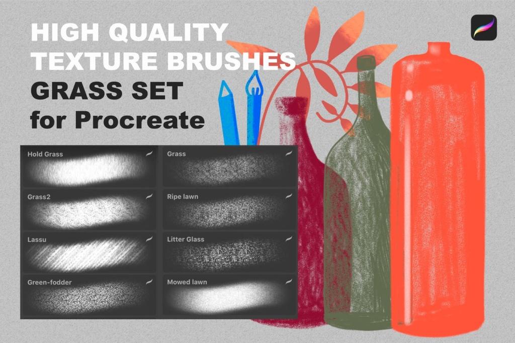Procreate应用蜡笔画笔笔刷下载 Procreate texture brushes. GRASS SET插图