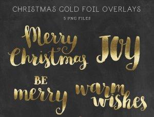 一套精美的手绘圣诞金箔字母装饰素材  Christmas Gold Foil Lettering插图2