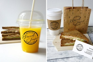 咖啡馆品牌VI设计样机模板 Sandwich Cafe Mockup插图4