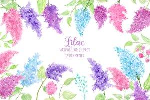 水彩丁香花剪贴画素材 Watercolor Lilac Flowers插图1